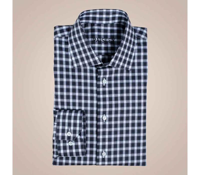 Hemd schwarz-grau kariert aus 100% Baumwolle | Slim Fit