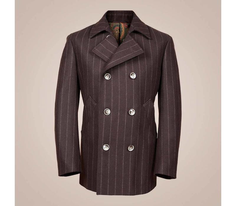 Caban-Jacke in braun mit Kreidestreifen aus wasserabweisender Wolle | Slim Fit