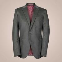Anzug aus elastischem Baumwoll-Cord in olivgrün | Slim Fit