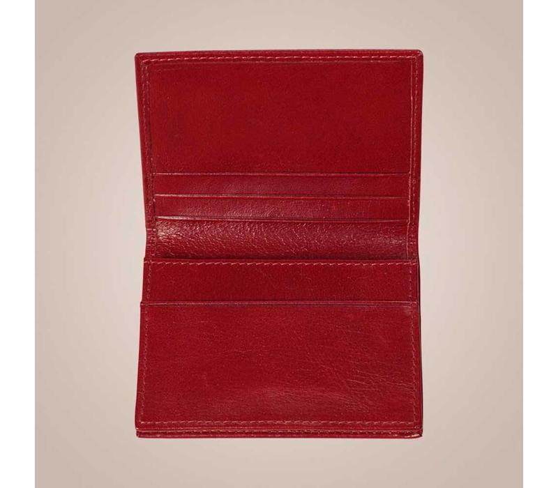 Kartenetui aus gewachstem Kalbsleder | Rot