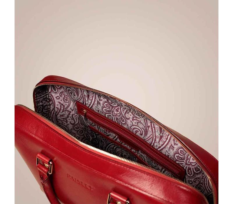 Henkeltasche aus gewachstem Kalbslede | Rot
