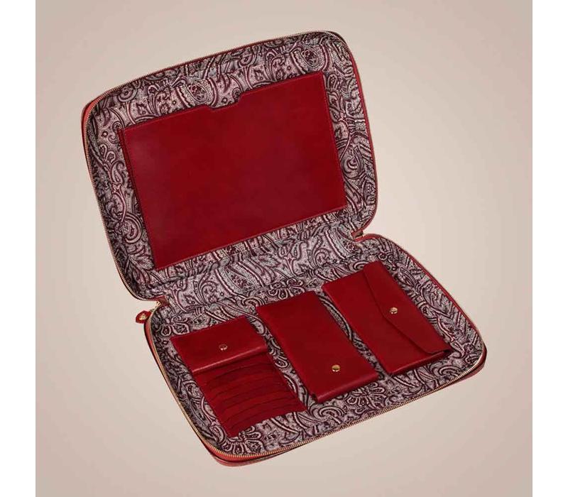 Laptoptasche aus gewachstem Kalbsleder | Rot