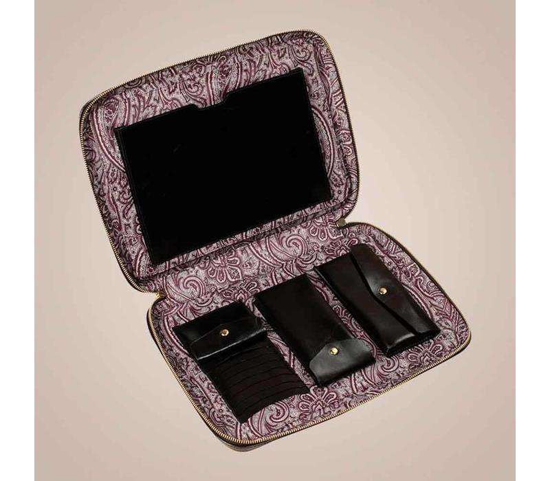Laptoptasche aus gewachstem Kalbsleder   Schwarz
