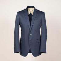 Sakko aus elastischem Baumwoll-Satin in dunkelblau | Passform: Slim Fit