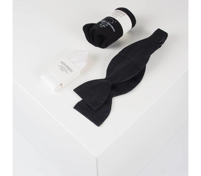 Accessoire-Set - Einstecktuch, Fliege, Socke - Schwarz-weiß