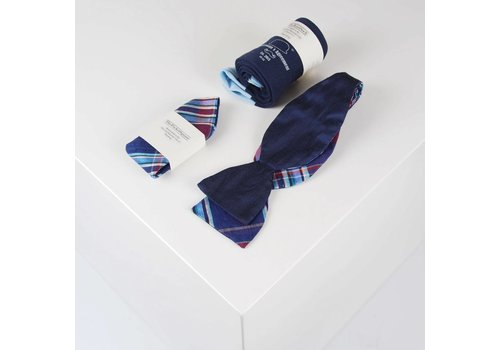 THEACCESSORYBOX by Gentleman's Agreement Accessoire-Set - Einstecktuch, Fliege, Socke - Marineblau/kariert