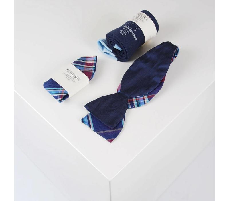 Accessoire-Set - Einstecktuch, Fliege, Socke - Marineblau/kariert