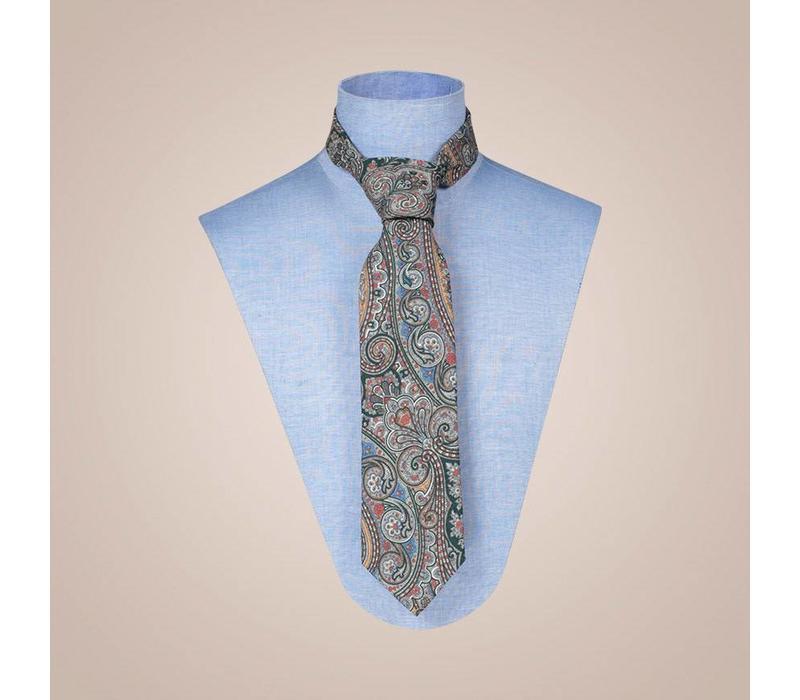 Handgefertigte Krawatte aus Jacquard-Seide in Braun-Beige | 8 cm breite