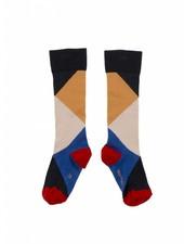 knee socks - geometric - navy/nude/pink