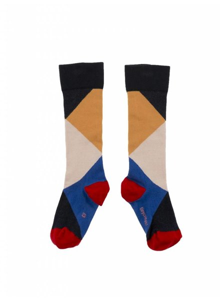 knee socks - geometric - navy/nude/pink