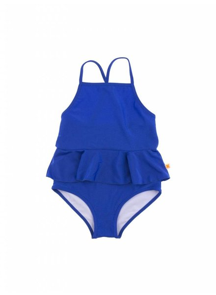 OUTLET // swimsuit frill metallic blue