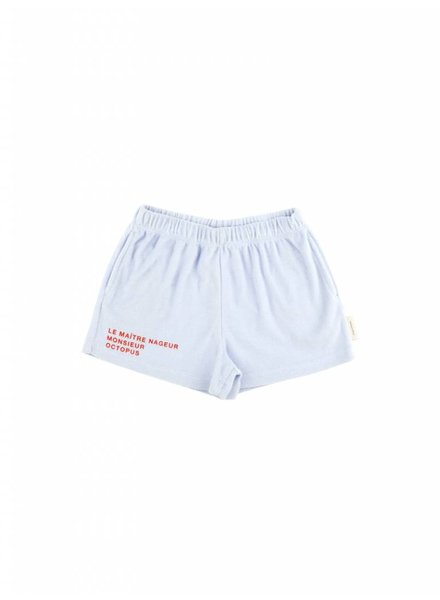 towel short 'le maitre nageur' - light blue/carmin