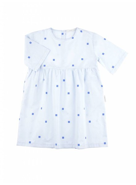 OUTLET // belled dress squares dots - light blue/cerulean blue