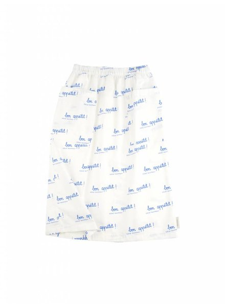 mid-lenght skirt bon appetit - off white/cerulean blue