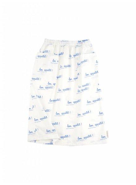 OUTLET // mid-lenght skirt bon appetit - off white/cerulean blue