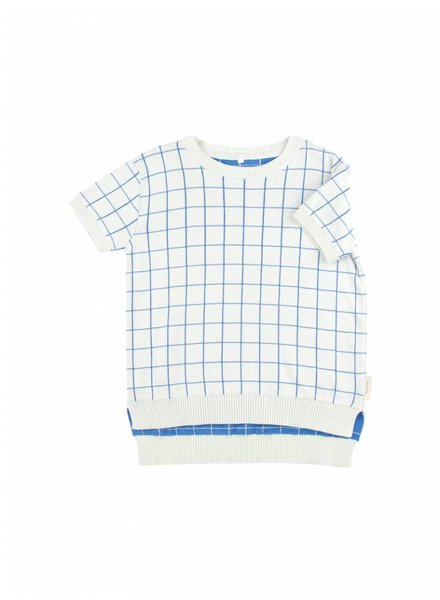 OUTLET // sweater grid - light blue/cerulean blue