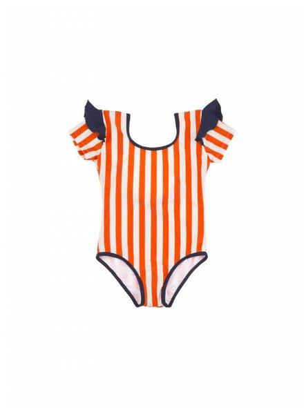 swimsuit stripes & frill - stone/carmin