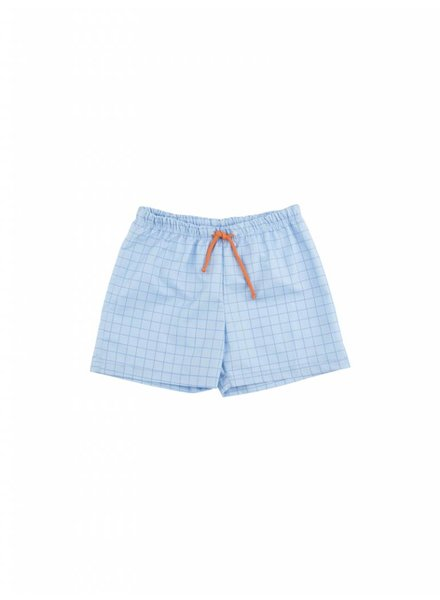 swim trunk grid - cerulean blue