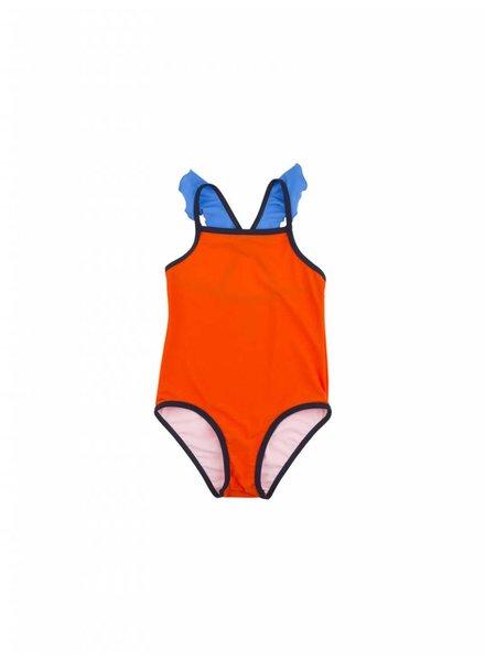 swimsuit color block frill - carmin/light cerulean blue