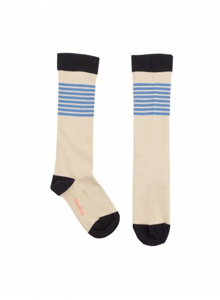 knee socks stripes - stone/cerulean blue