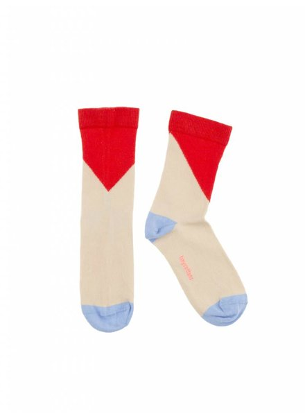 socks geometric - stone/carmin