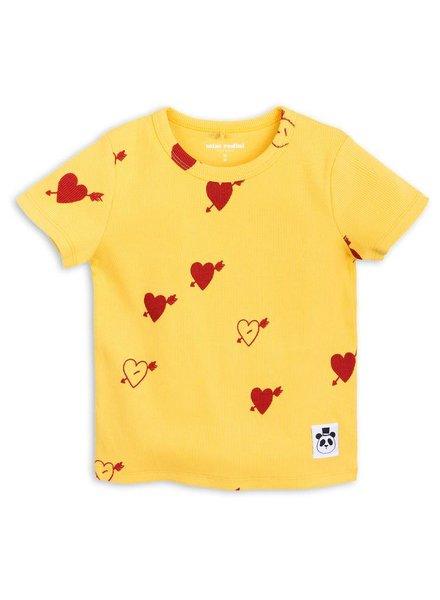 T-shirt heart rib - yellow