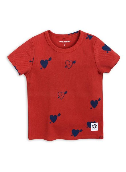 OUTLET // T-shirt heart rib - red