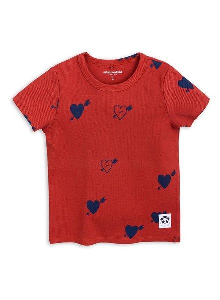 T-shirt heart rib - red