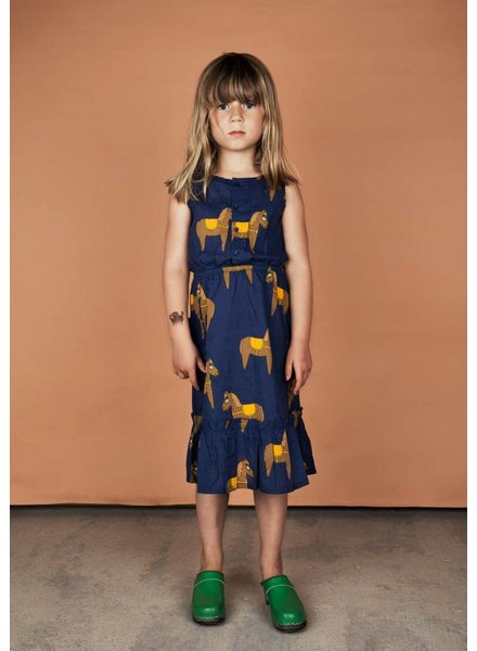 dress flounce horses - navy