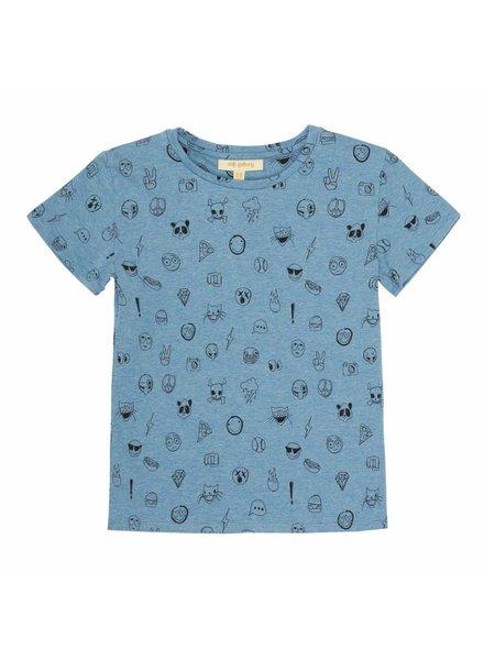 OUTLET // t-shirt Bass blue melange - emoji