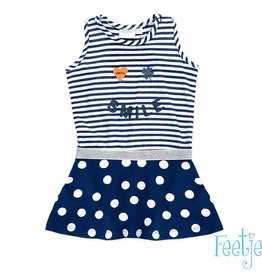 Feetje Jurk 'smile easy' navy dots and stripes