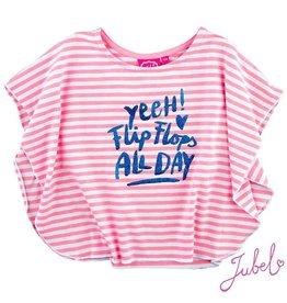 Jubel T-shirt 'Exotic' pink gestreept