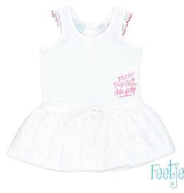 Feetje Mouwloze jurk 'Tropic' white