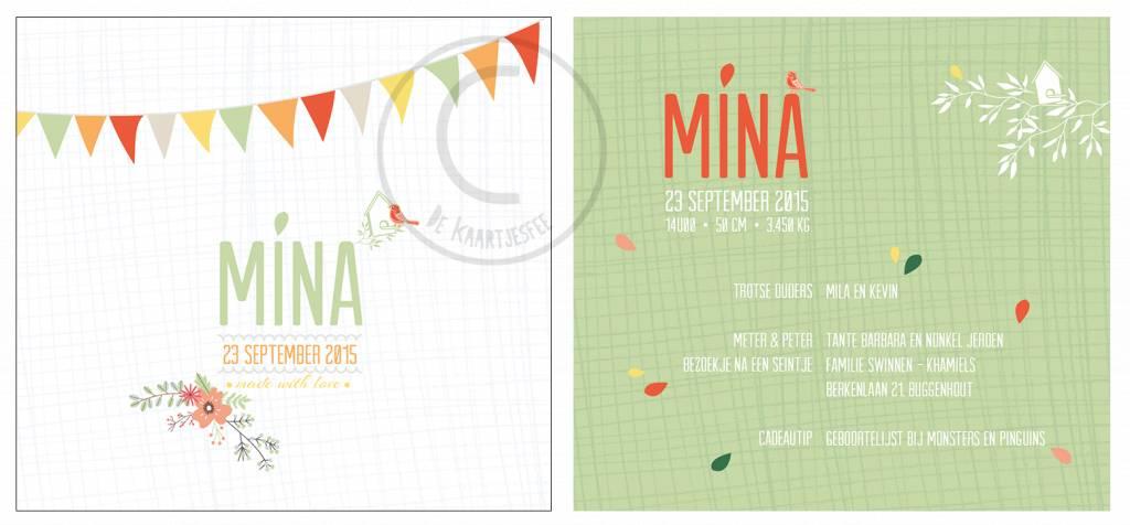 Geboortekaartje Mina