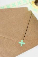 Sluitsticker kruisje mint • per 10 stuks