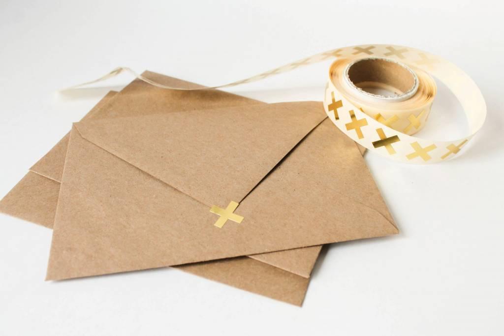 Sluitsticker kruisje goud • per 10 stuks