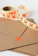 Sluitsticker kruisje fluo oranje • per 10 stuks