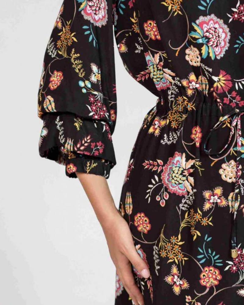 October korte jurk met print