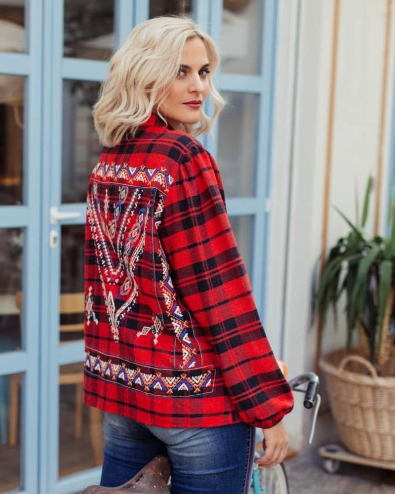 October blouse ruit print back