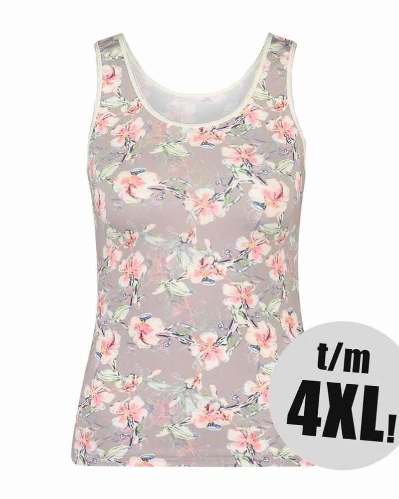 RJ Bodywear singlet taupe floral
