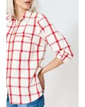 October blouse rood geblokt