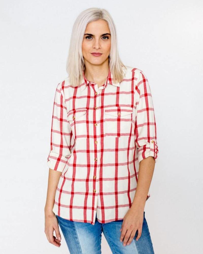 October blouse rood geblokt