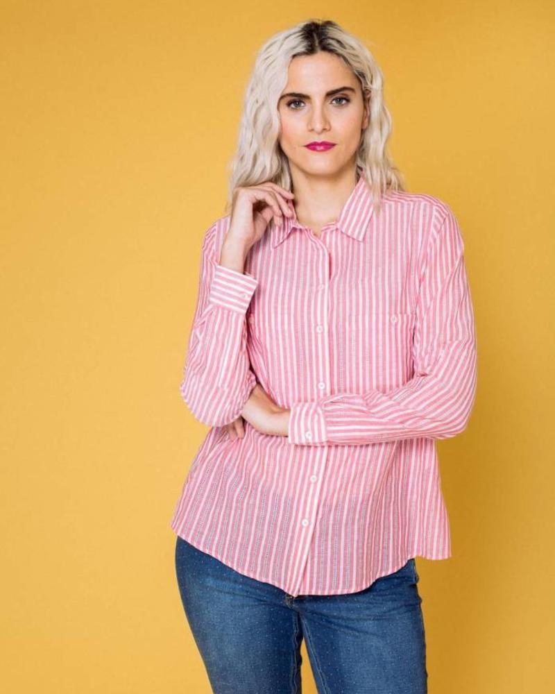 October blouse streep rood