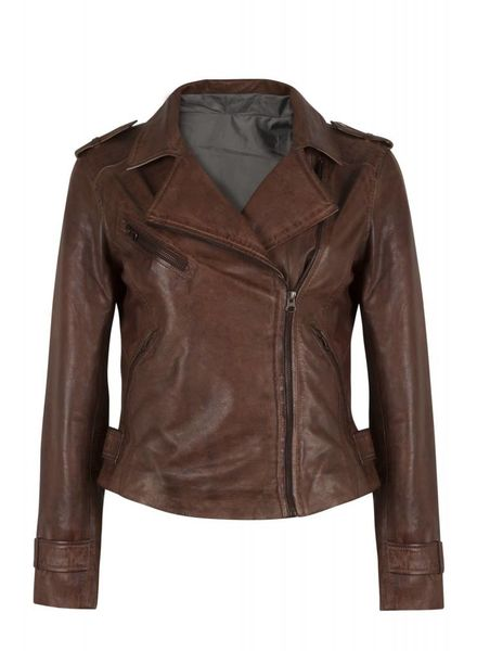 Blue Frog Jeans Kato brown leather jacket