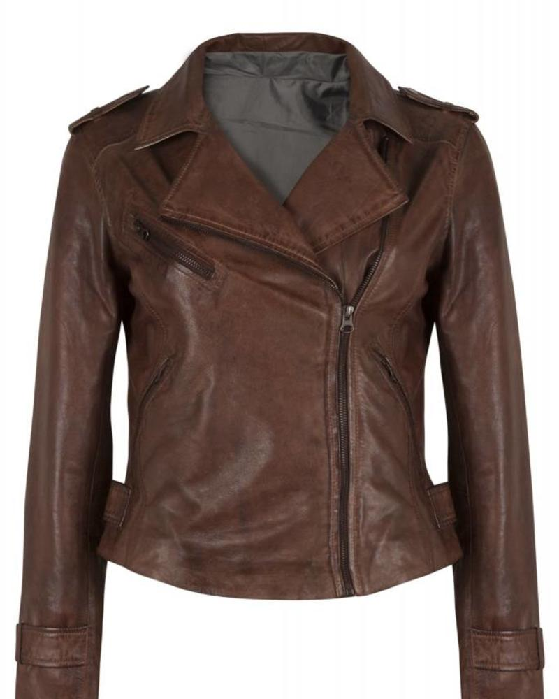 Blue Frog Jeans Kato brown leather jacket