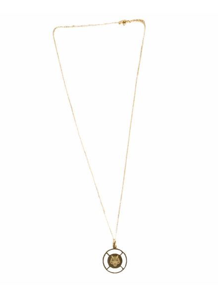 Statement coin necklace tiger gold
