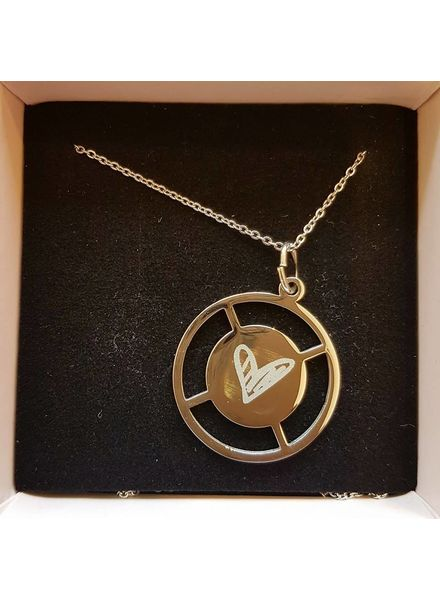 statement coin necklace heart zilver