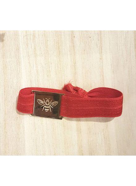 armband rood / bij goud