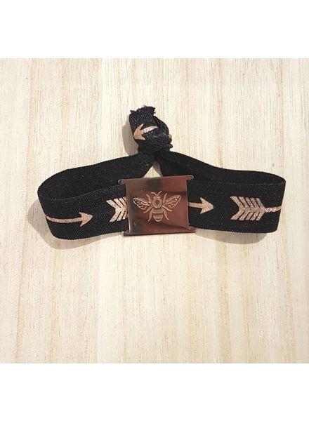 armband zwart arrow /  bij rose