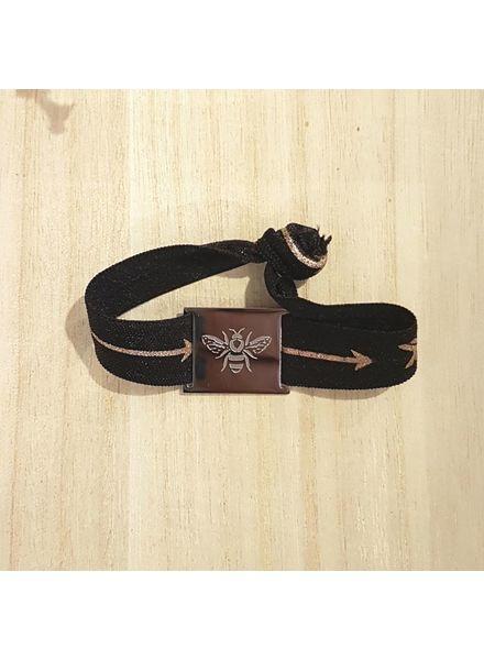 armband zwart arrow / bij zilver